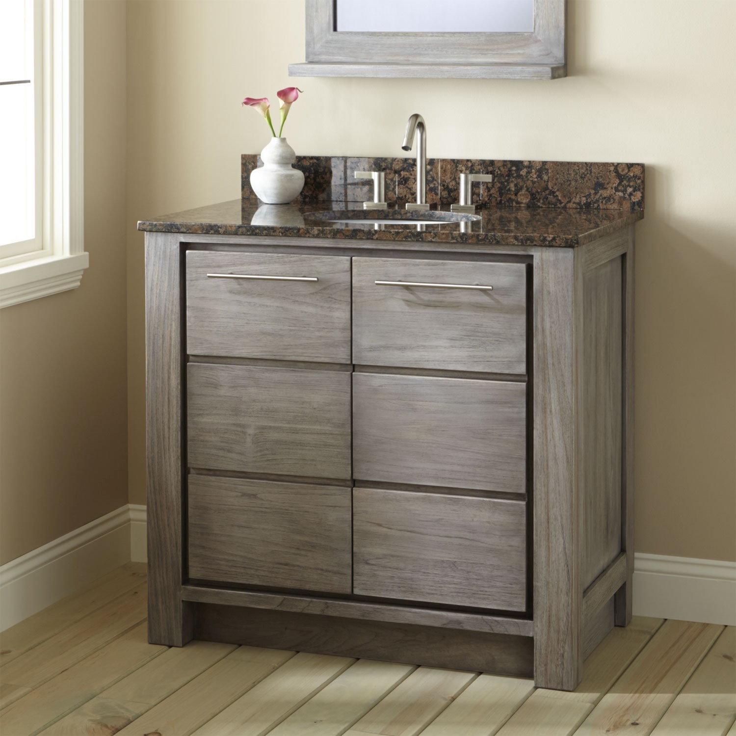 36 Inch Bathroom Vanity Stylish Venica Teak Vanity for Undermount Sink Gray Wash Bathroom Pattern