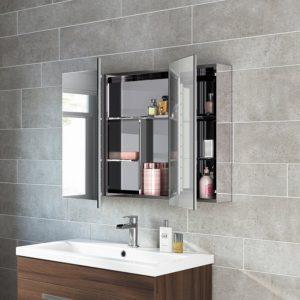 Bathroom Mirror Cabinet Amazing X Stainless Steel Bathroom Mirror Cabinet Modern Triple Gallery