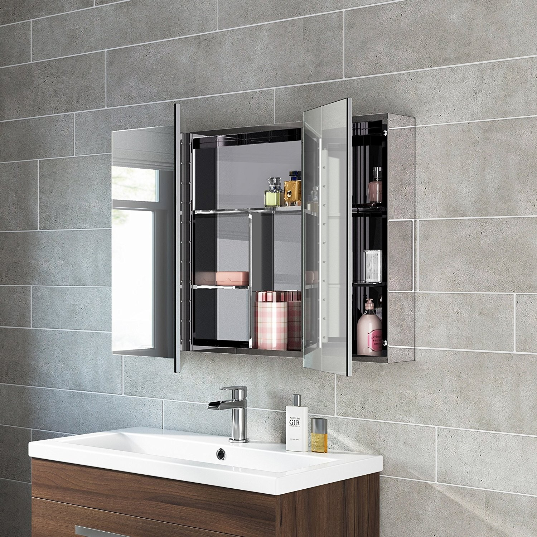 Bathroom Mirror Cabinets Fascinating X Stainless Steel Bathroom Mirror Cabinet Modern Triple Decoration