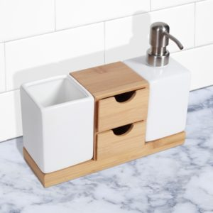 Bathroom soap Dispensers Superb Bamboo Bathroom soap Dispenser and organizer Portrait