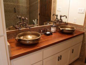 Bathroom Vanity tops Modern Vanity Teak Face Grain Wood Vanity Countertop with Waterlox Décor