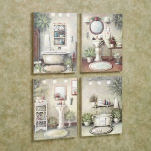 Bathroom Wall Art and Decor Superb Bathroom Bliss Wooden Wall Art Plaque Set Portrait