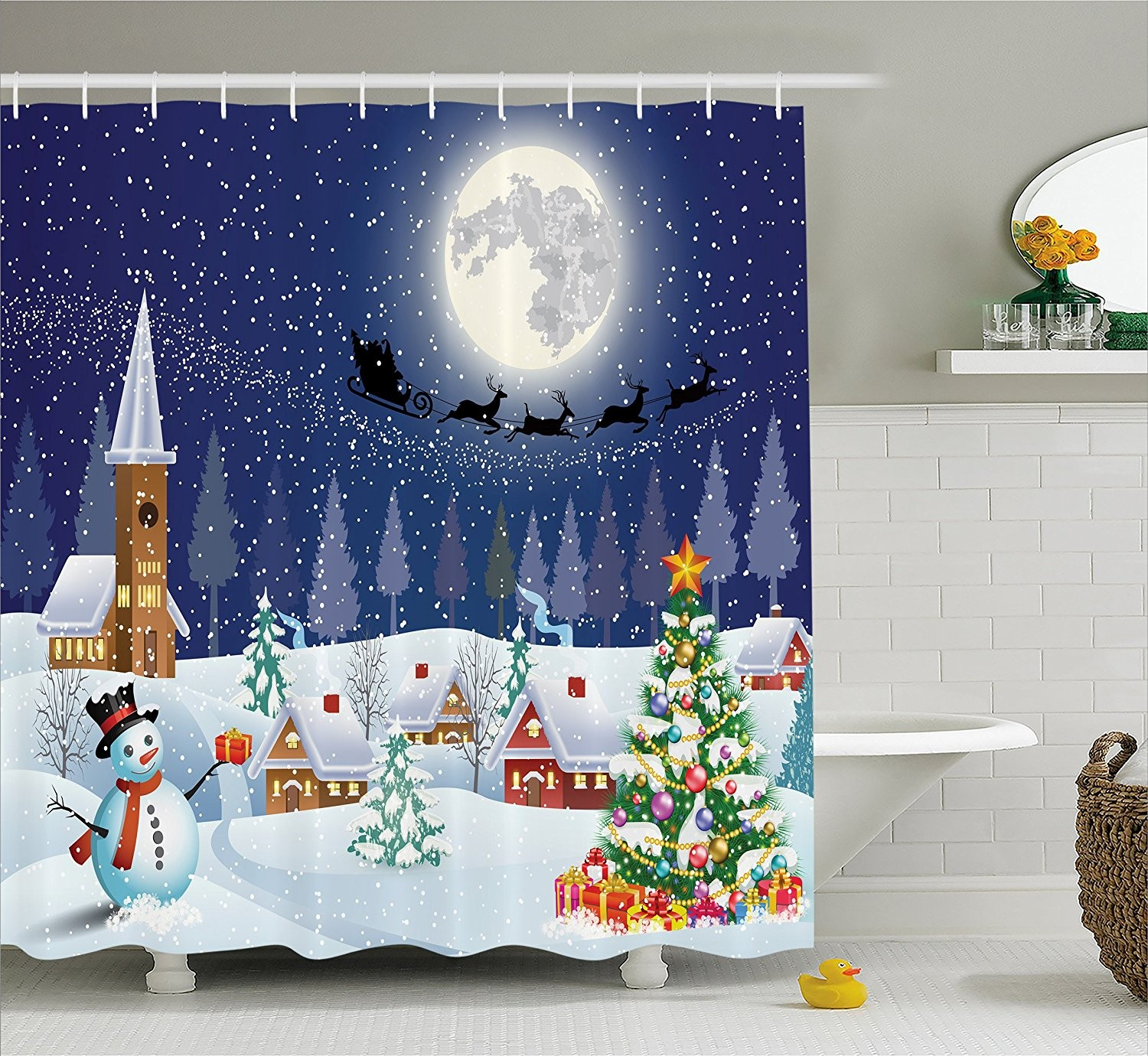 Christmas Bathroom Sets Best Amazon Christmas Shower Curtain Snowman Christmas Bathroom Model