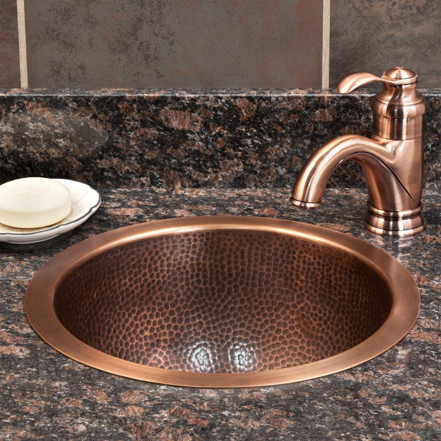 Copper Bathroom Sinks Amazing Baina Extra Deep Round Hammered Copper Sink Bathroom Picture