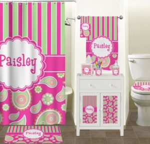 Pink Bathroom Sets Terrific Pink Green Paisley and Stripes Bathroom Accessories Set Gallery