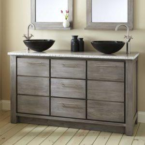 Vanities for Bathroom Lovely Venica Teak Double Vessel Sinks Vanity Gray Wash Bathroom Decoration
