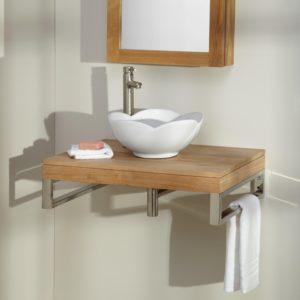 Wall Mounted Bathroom Vanity Fancy Pomoma Teak Wall Mount Vessel Sink Vanity Bathroom Picture