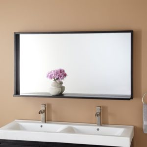 48 Bathroom Mirror Unique Kyramirror Wenge Color with An Integrated Shelf with A Sleek Construction