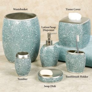 Aqua Bathroom Accessories Stunning Calm Waters Light Aqua Mosaic Bath Accessories Décor