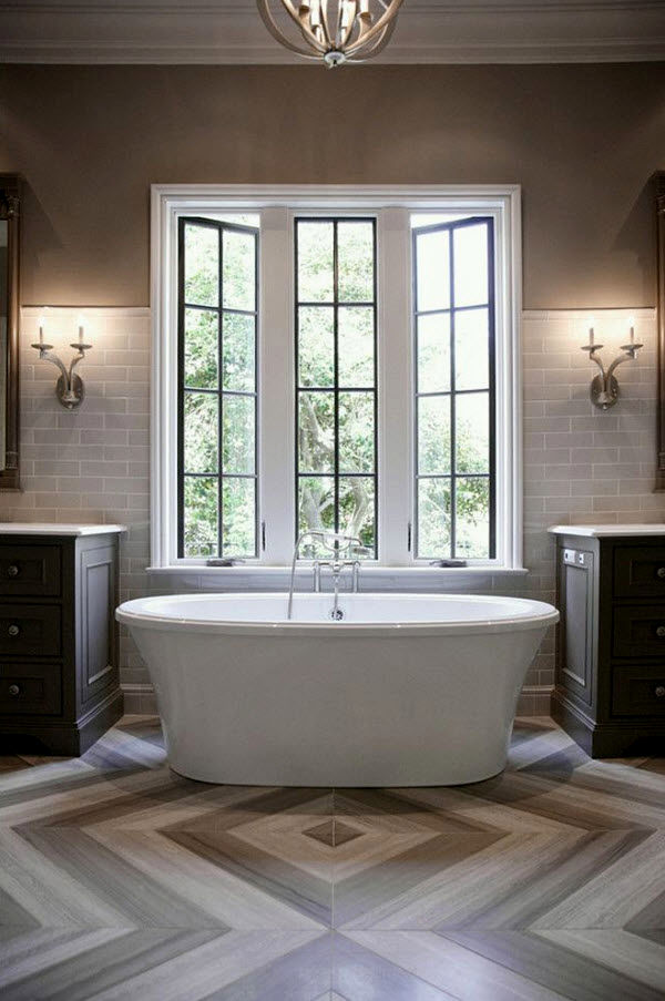 awesome white floor tile bathroom construction-Modern White Floor Tile Bathroom Image