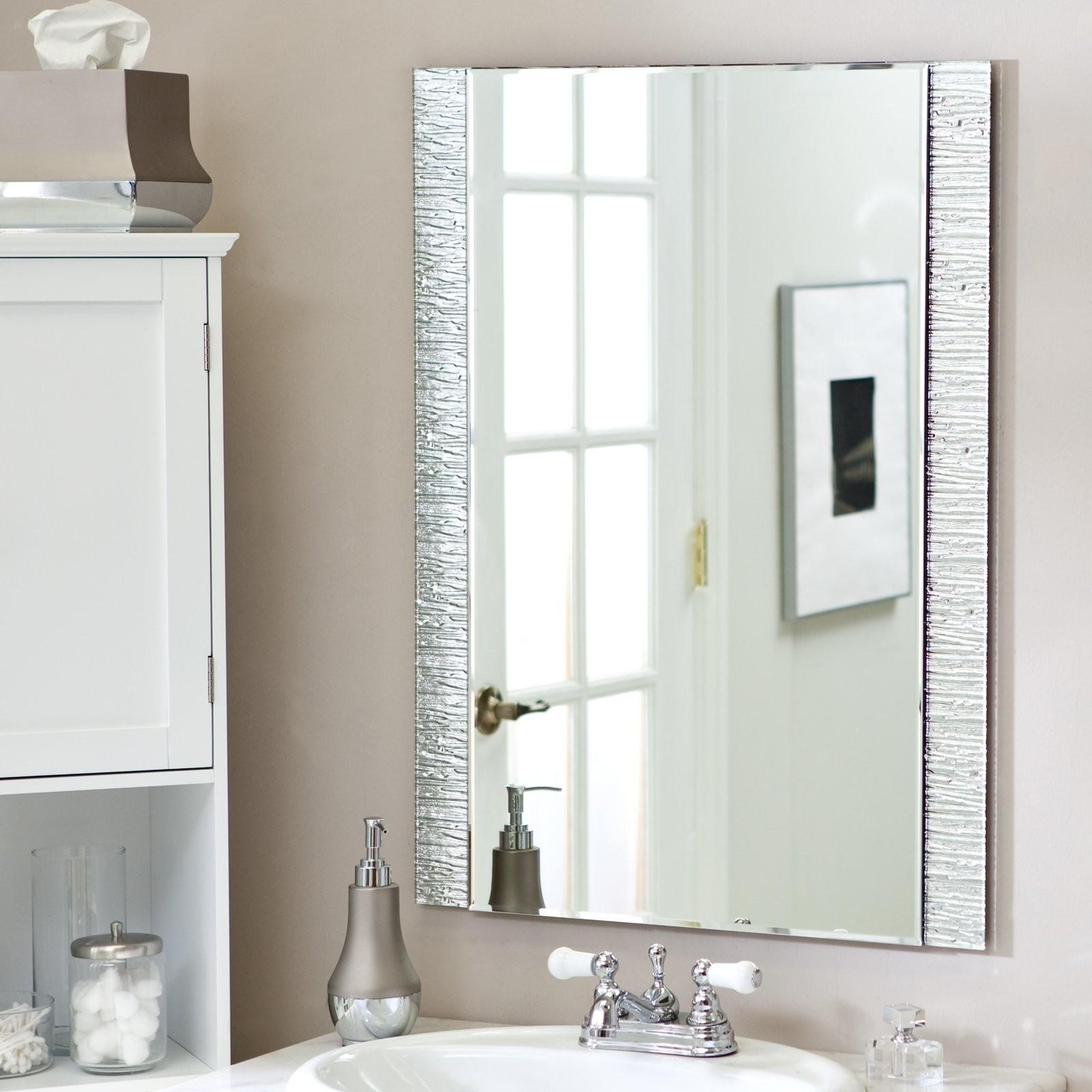 Bathroom Frameless Mirror Incredible Beveled Bathroom Mirrors Frameless Bathroom Mirrors Layout