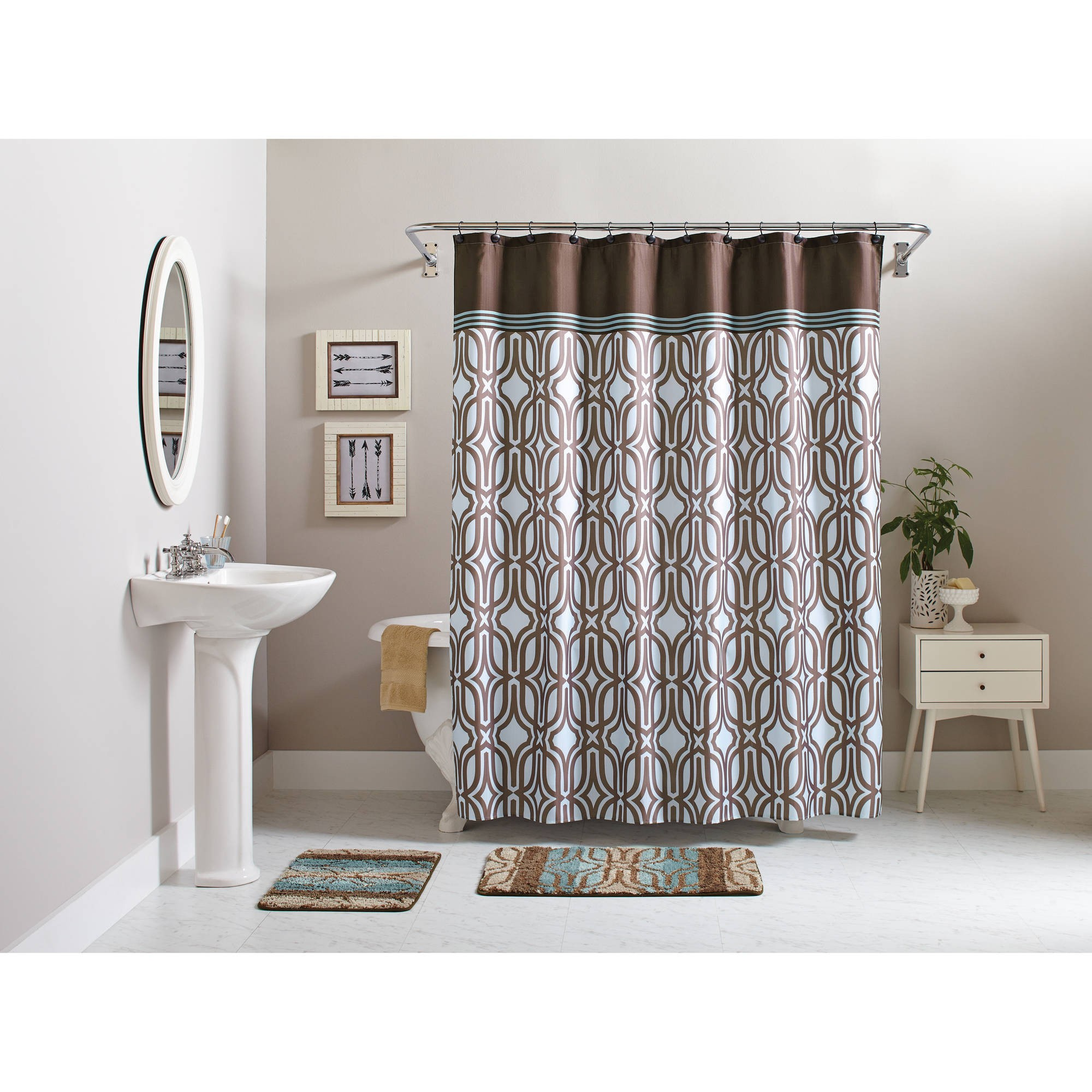 Bathroom Sets with Shower Curtain and Rugs Stunning Better Homes and Gardens Piece Geometric Bath Set Shower Photograph