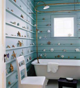 Beach themed Bathroom Fancy Beach themed Bathroom with Seashells Accessories and Clawfoot Tub Photo