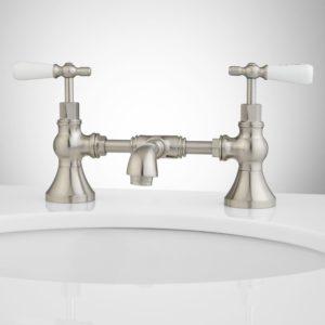 Bridge Bathroom Faucet Stylish Monroe Bridge Bathroom Faucet Porcelain Lever Handles Bathroom Inspiration