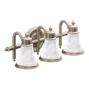 Brushed Nickel Bathroom Lights Lovely Moen Ybbn Waterhill Three Globe Bath Light Brushed Nickel Construction