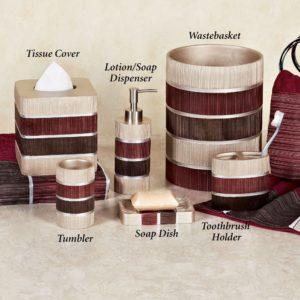 Burgundy Bathroom Accessories Latest Modern Line Burgundy Striped Bath Accessories Gallery