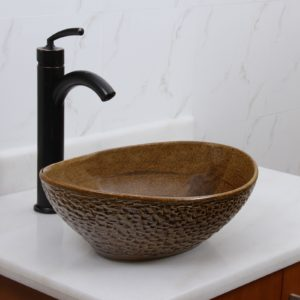 Ceramic Bathroom Sink Luxury Elite Oval Coffee Brown Glaze Porcelain Ceramic Bathroom Décor
