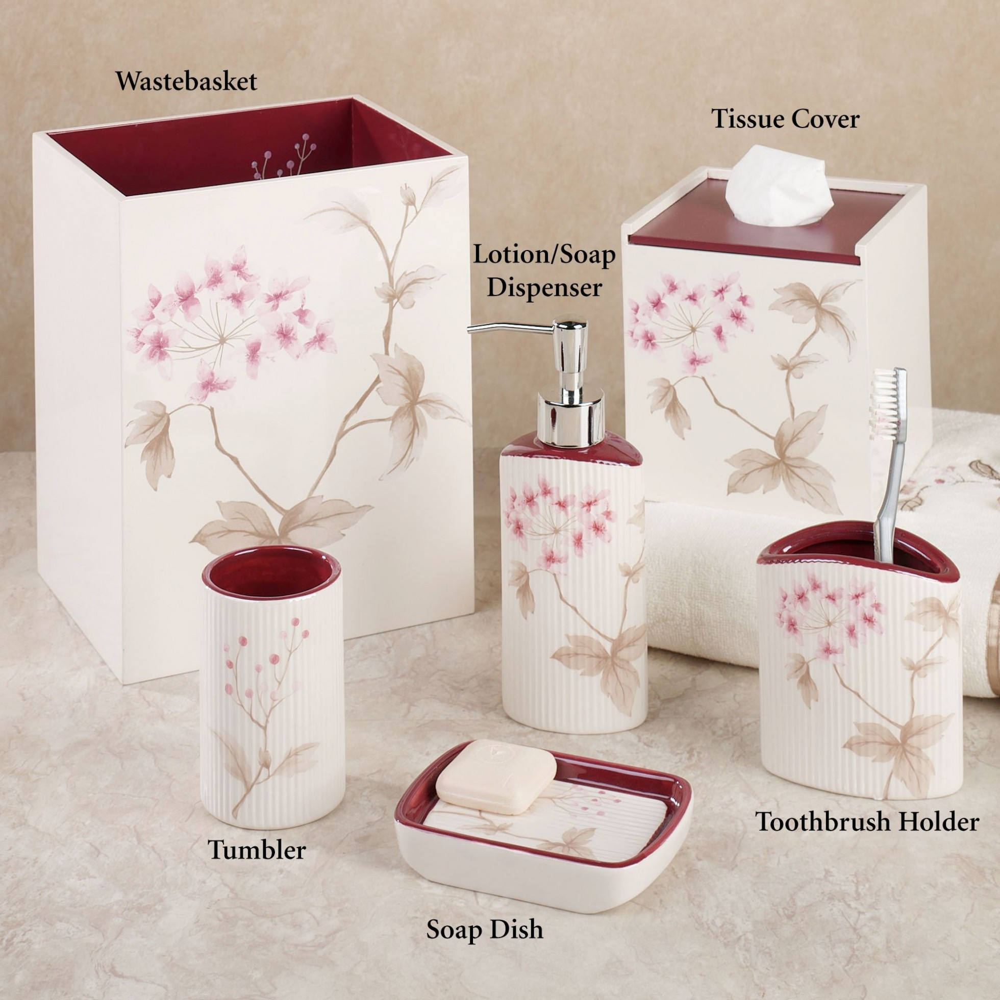 Cherry Blossom Bathroom Set Latest Christina Red Cherry Blossom Bath Accessories by Croscill Collection