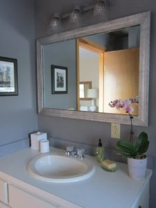 Gray Bathroom Mirror Inspirational Rectangle Mirror with White Wooden Frame Plus Lamps On the Gray Plan