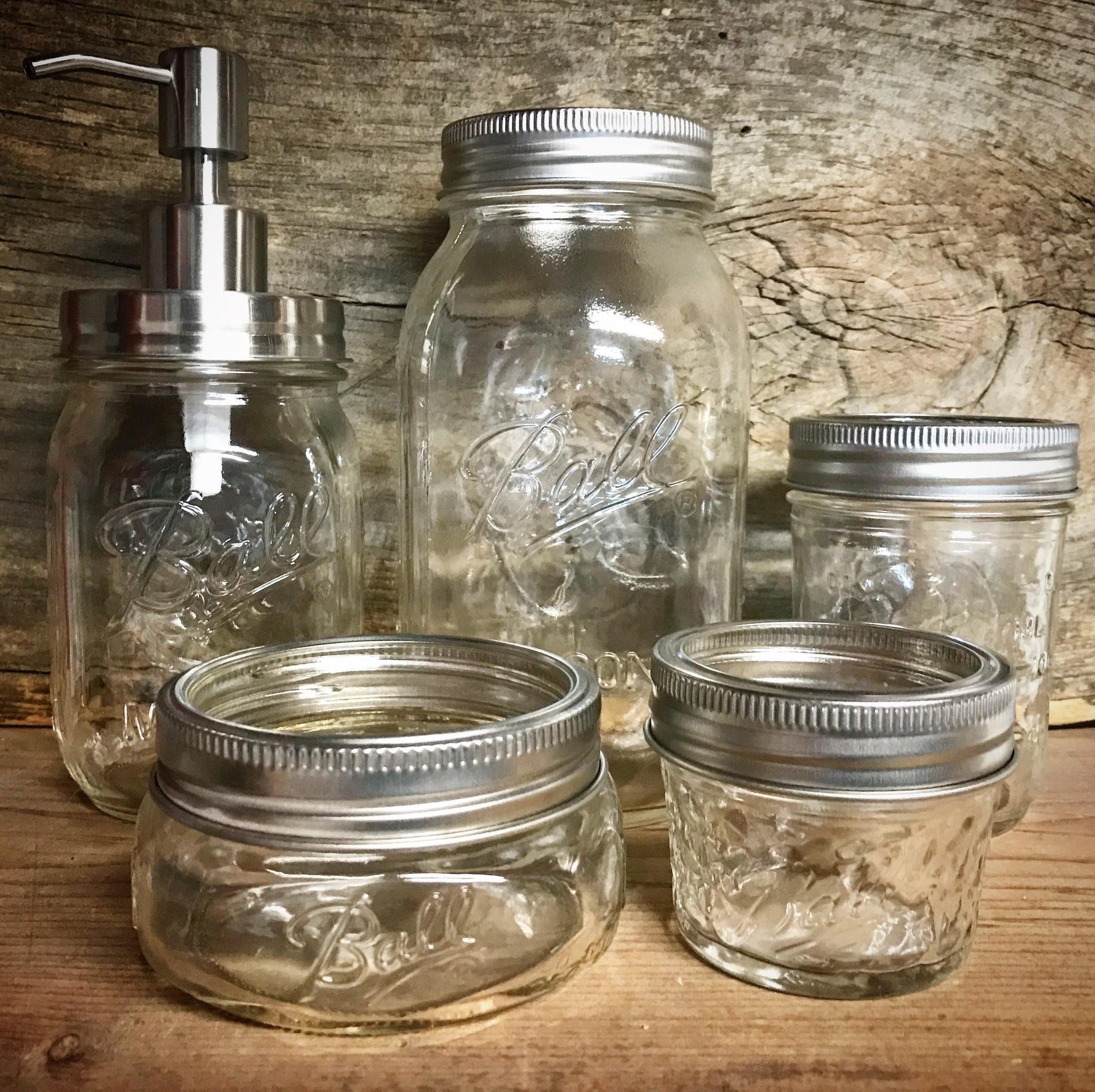 Mason Jar Bathroom Accessories Lovely Rust Resistant Set 5pc Wallpaper