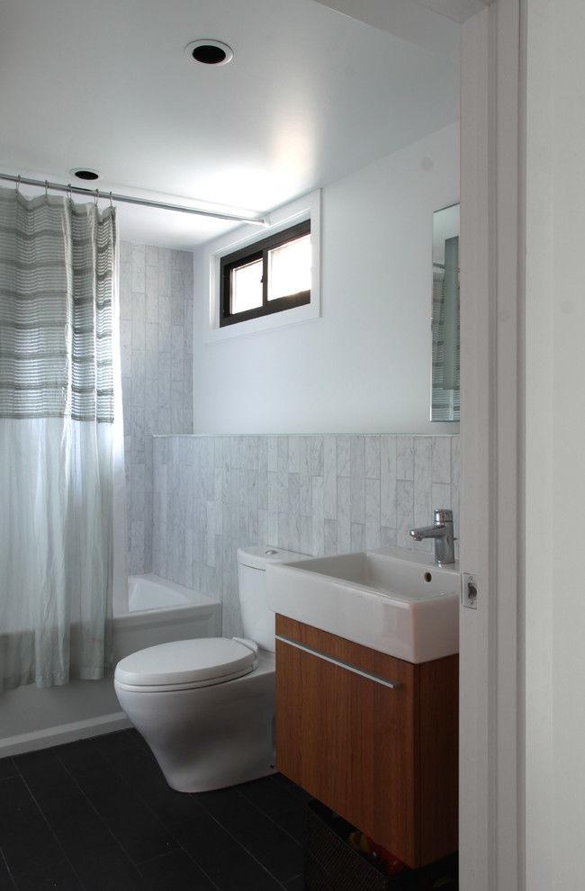 new marble subway tile bathroom image-Contemporary Marble Subway Tile Bathroom Layout