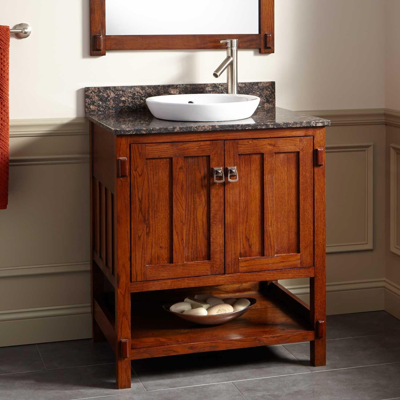 Oak Bathroom Vanity Cool Harington Oak Vanity for Semi Recessed Sink Bathroom Layout