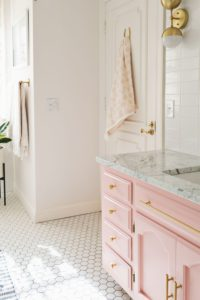 Pink and Gold Bathroom Terrific Elsies Guest Bathroom tour before after A Beautiful Mess Inspiration