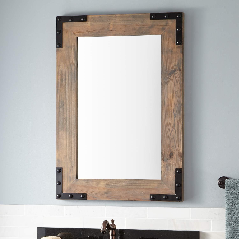 Reclaimed Wood Bathroom Mirror Stylish Bonner Vanity Gray Wash Pine Design
