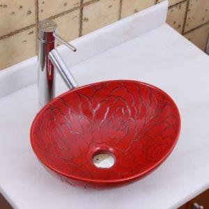 Red Bathroom Sink Fresh Elite Oval Red Rose Porcelain Ceramic Bathroom Vessel Sink Photograph