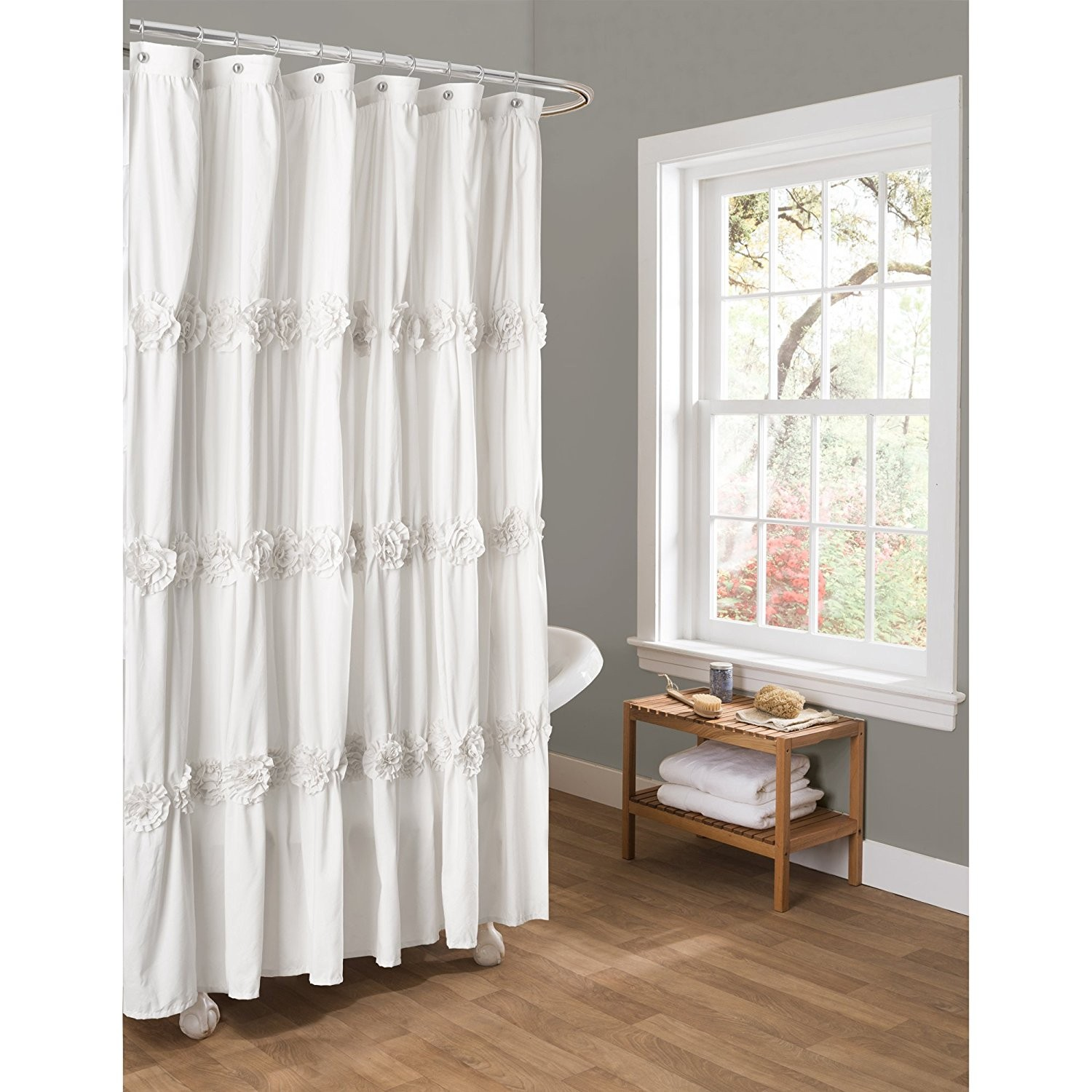 White Bathroom Curtains Fancy Lush Decor Darla Shower Curtain By Inch Construction