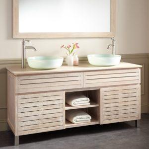 Whitewash Bathroom Vanity Best Caldwell Teak Double Vessel Sink Vanity Whitewash Bathroom Plan