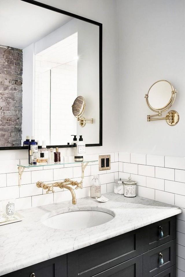 wonderful marble subway tile bathroom décor-Contemporary Marble Subway Tile Bathroom Layout
