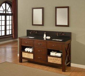 Open Bathroom Vanity With Baskets