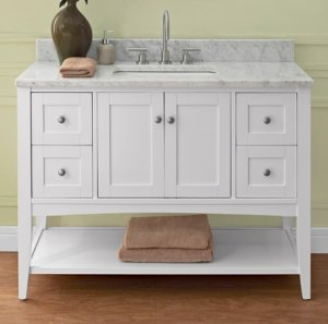 White Open Shelf Bathroom Vanity
