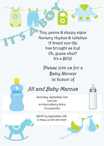 Baby Shower Invitation Wording For Boys
