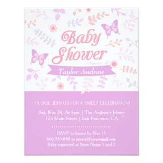 Erfly Baby Shower Invitations