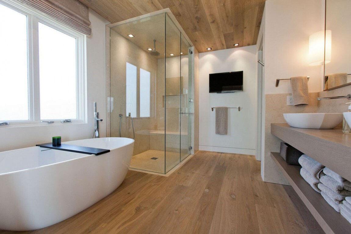 Light-Wood-and-Black Beauty bathroom