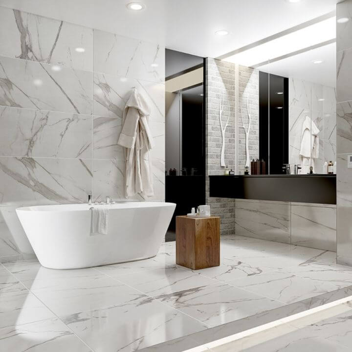 Marble and Porcelain Power bathroom