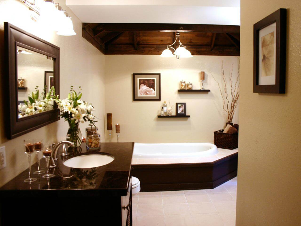 Chocolate Wood Color Bathroom