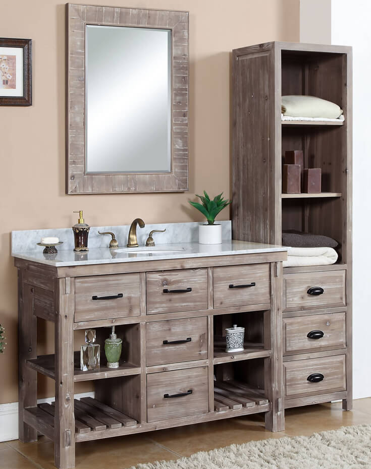 Rustic Oak Bathroom Cabinets