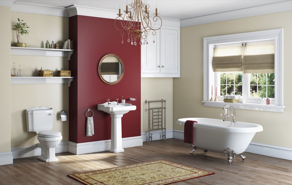 White and Dark Red Color Bathroom