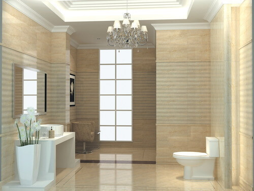 If you prefer a bathroom atmosphere that is neither silent nor boring, try creating patterns on the walls and floor