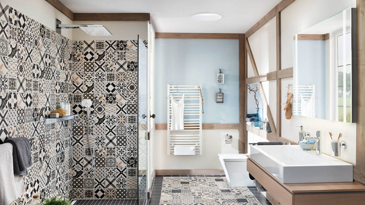 In addition to black and white, you can choose pastel shades for the bathroom area