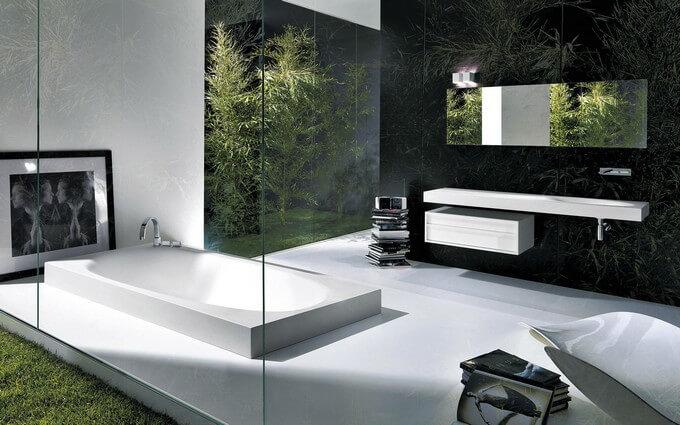 Minimalist black bathroom design